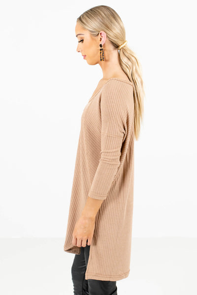 Tan Brown High-Low Hem Boutique Tops for Women