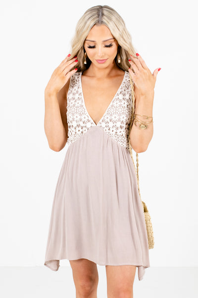 Taupe Brown Cream Crochet Detailed Boutique Mini Dresses for Women