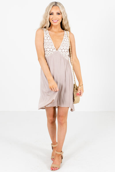 Taupe Brown Cute and Comfortable Boutique Mini Dresses for Women
