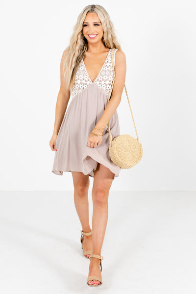 Women's Taupe Brown Fully Lined Boutique Mini Dress