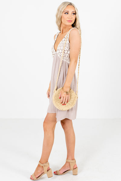 Taupe Brown Spring and Summertime Boutique Mini Dresses for Women