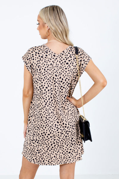 Women's Brown V-Neckline Boutique Mini Dress