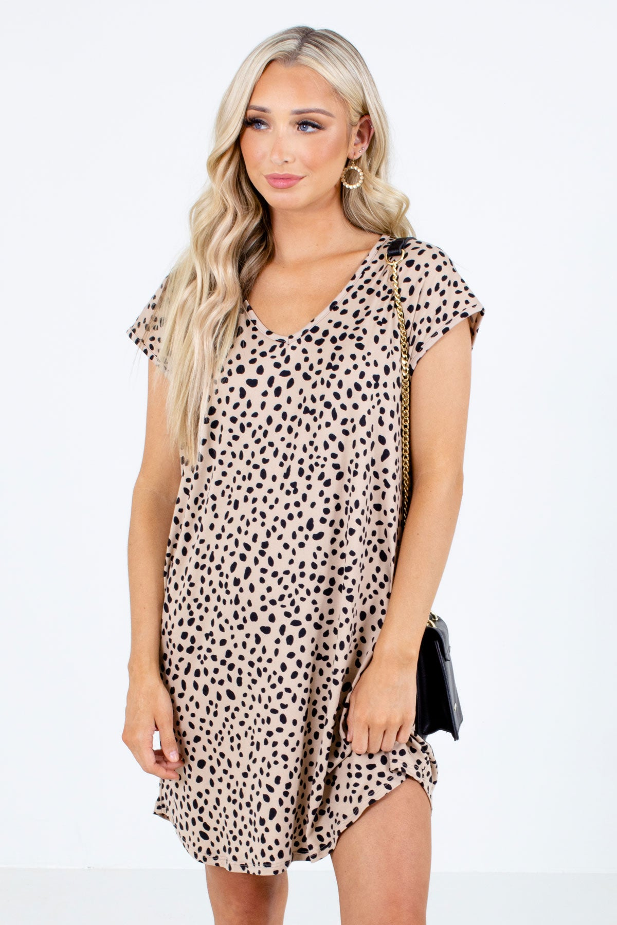 Brown and Black Abstract Polka Dot Patterned Boutique Mini Dresses for Women