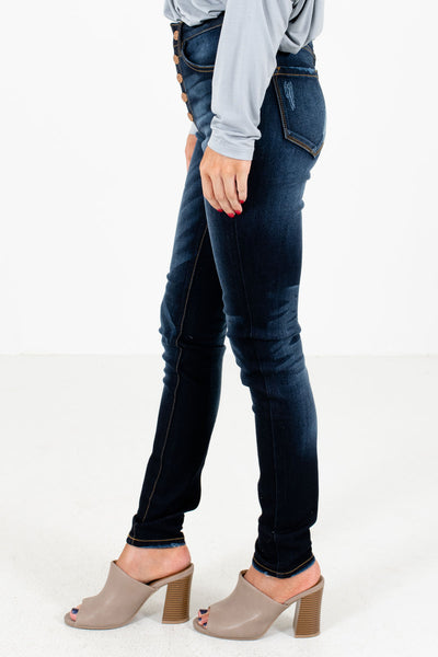 Dark Wash Blue Boutique KanCan Skinny Jeans with Pockets for Women