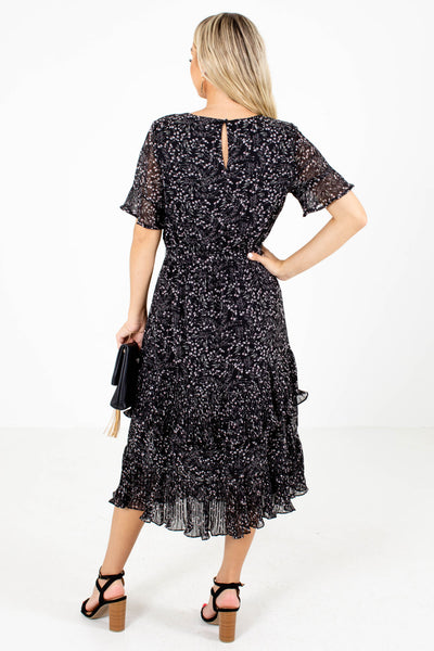 Women's Black Keyhole Back Boutique Midi Dress