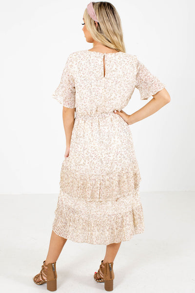 Women's Cream Pleated Accented Boutique Midi Dress
