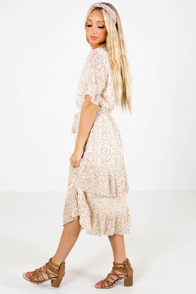 Cream Cute and Comfortable Boutique Midi Dresses for Women