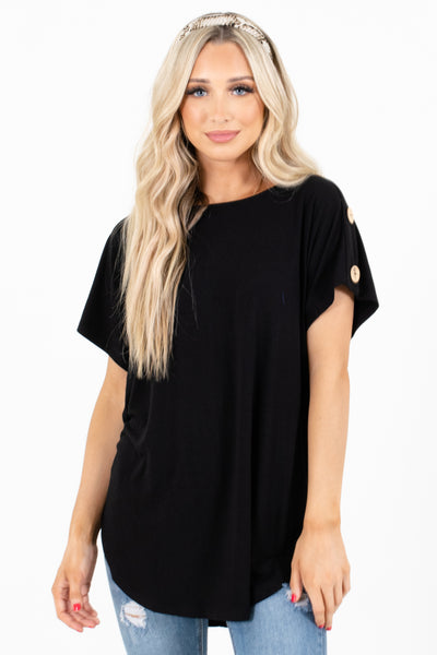 Black High-Low Hem Boutique Tops for Women