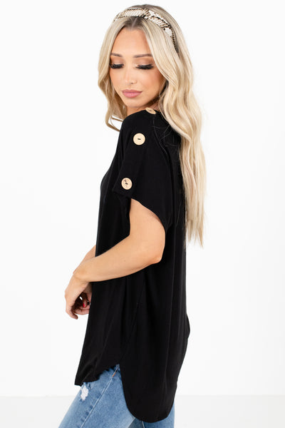 Women's Black Rounded Neckline Boutique Tops