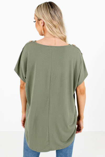 Women's Green Round Neckline Boutique Top
