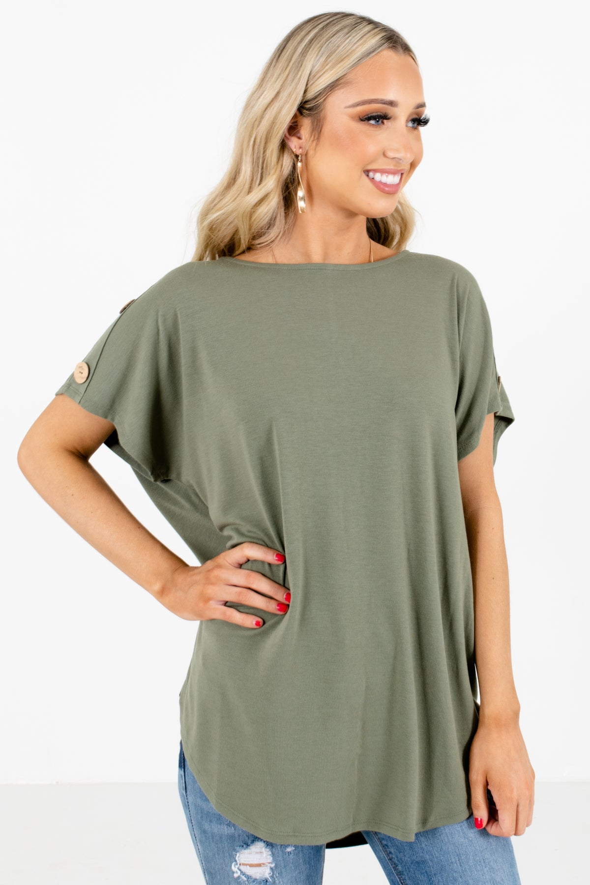 Green Decorative Button Boutique Tops for Women