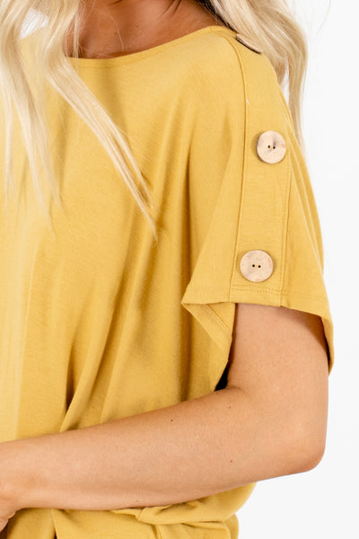 Women's Mustard Casual Everyday Boutique Tops