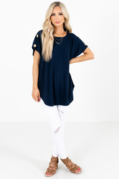 Women's Navy High-Low Hem Boutique Tops