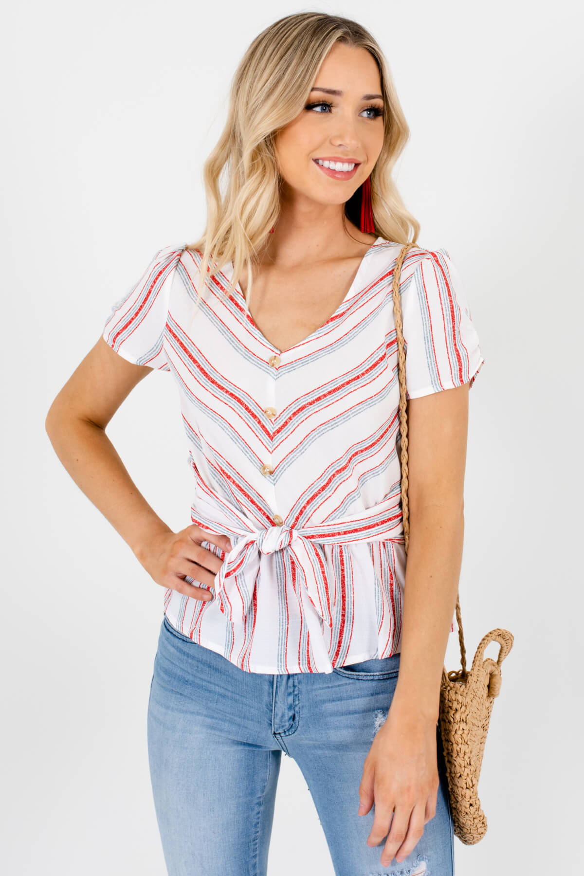 White Multicolored Striped Chevron Patterned Boutique Tops for Women