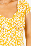 Women's Yellow Button-Up Front Boutique Midi Dress