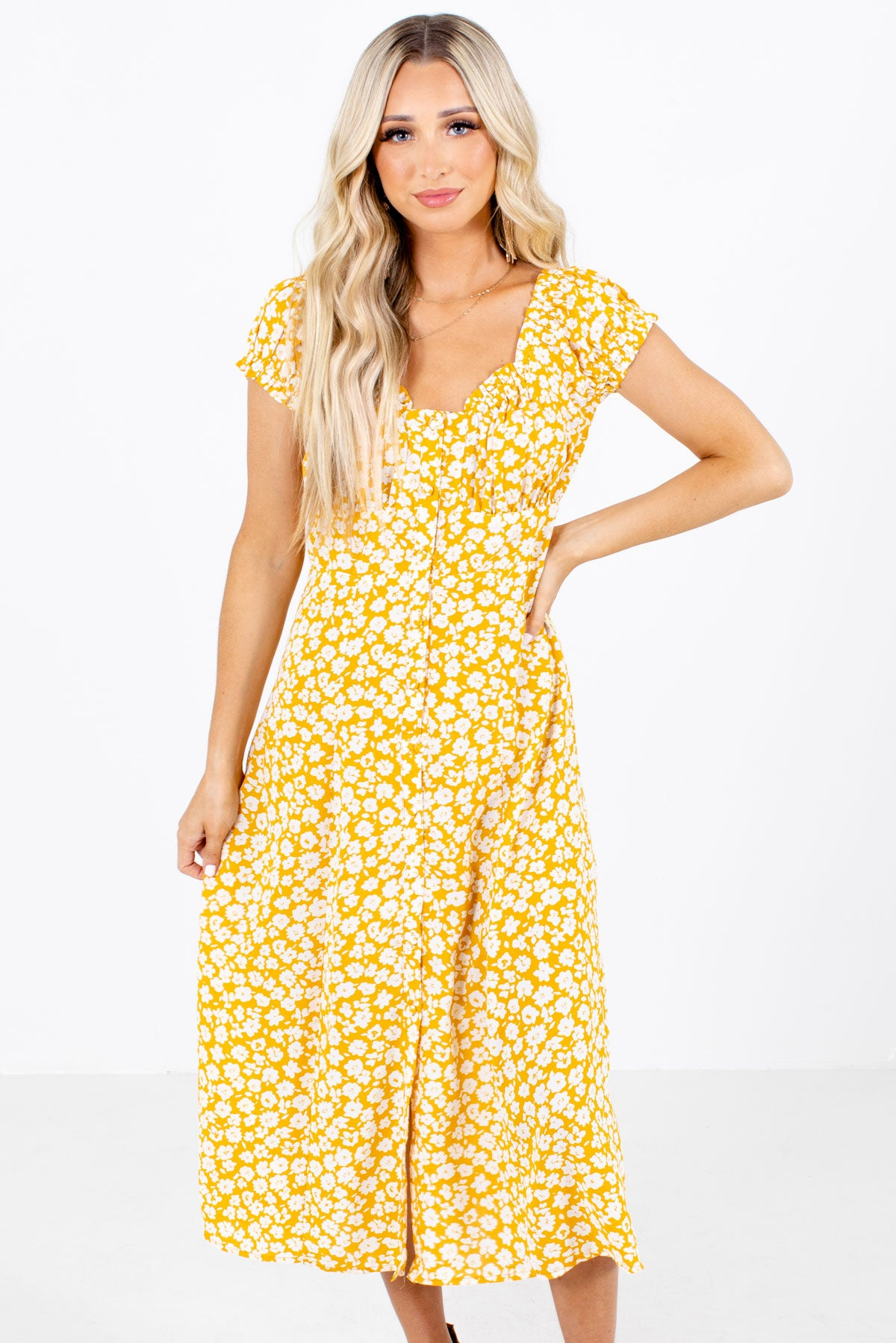 Yellow Floral Patterned Boutique Midi Dresses for Women