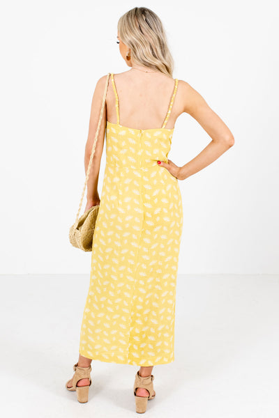 Women's Yellow Decorative Button Boutique Maxi Dress