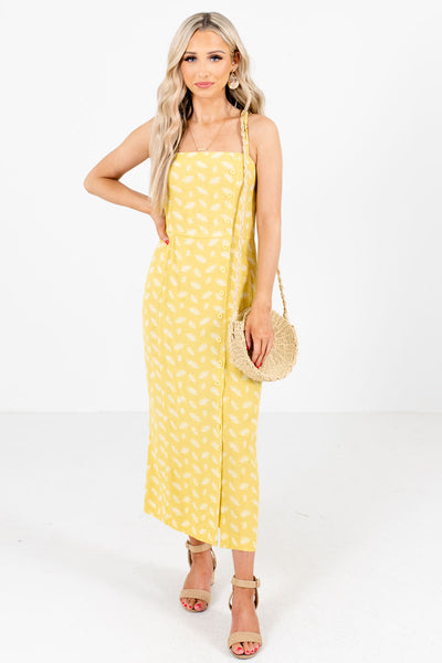 Yellow and White Patterned Boutique Maxi Dresses for Women