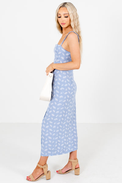 Women's Blue Button-Up Front Boutique Maxi Dress