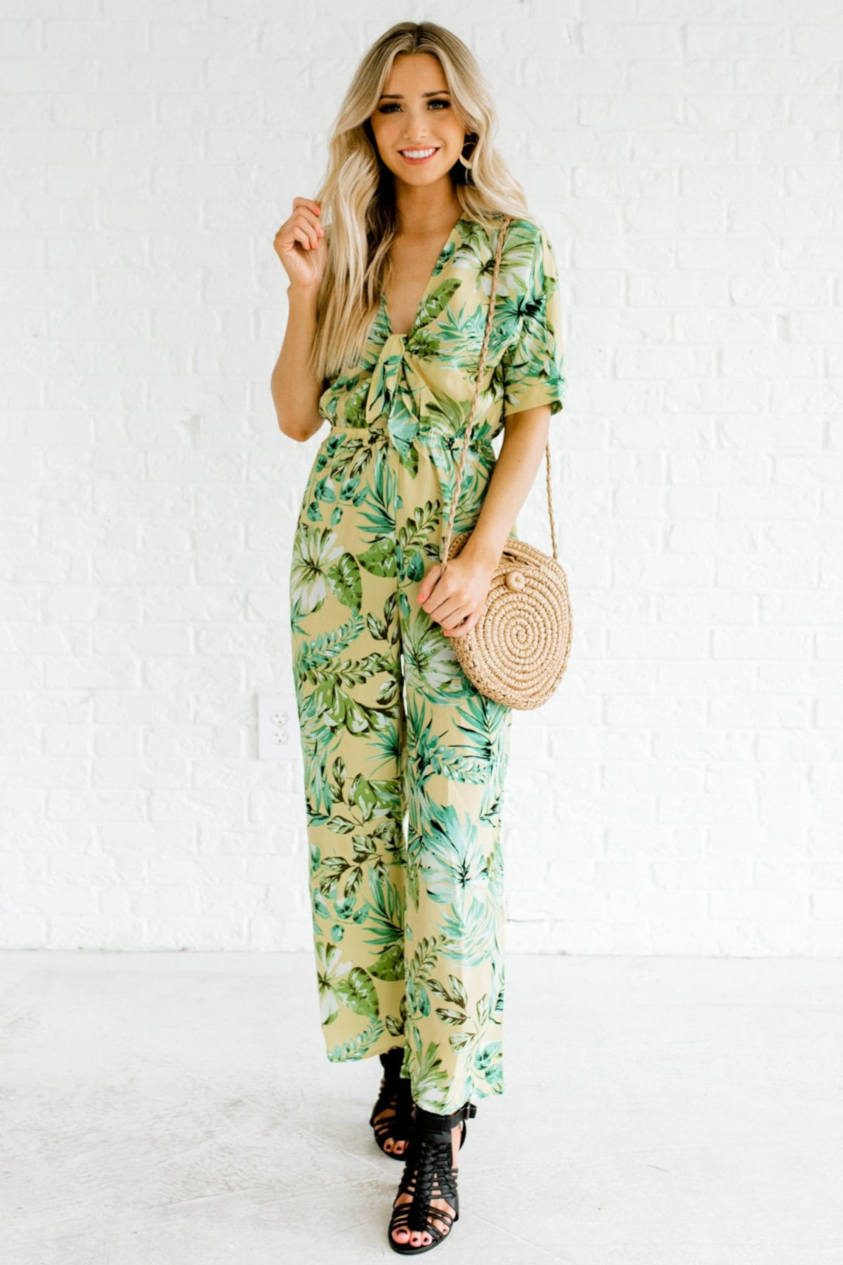 Yellow Green Tropical Palm Leaf Print Boutique Jumpsuits for Women