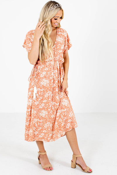 Pink and White Floral Patterned Boutique Midi Dresses for Women