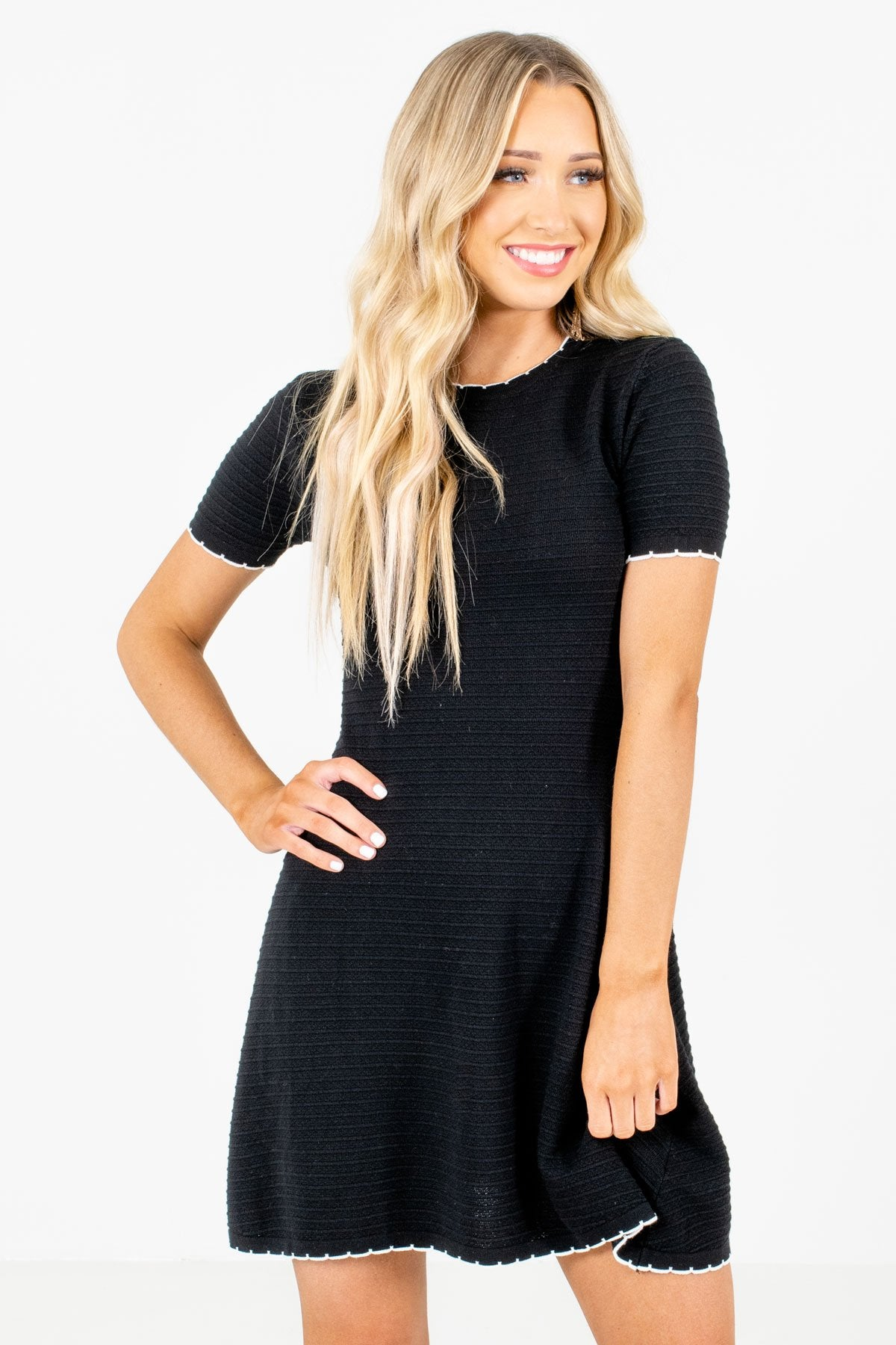 Black Mini Dress with White Lettuce-Edge Trim and Ribbed Material