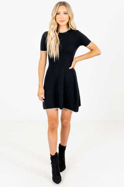 Black Mini Dresses with White Trim and Ribbed Material