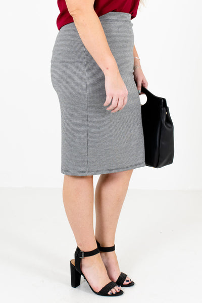 Black Business Casual Boutique Knee-Length Skirts for Women