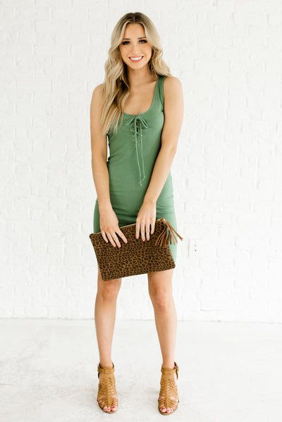 Women's Green Fitted Body-Con Style Boutique Dress