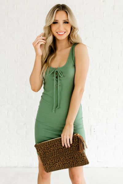 Green Ribbed, Soft and Stretchy Boutique Dresses for Women