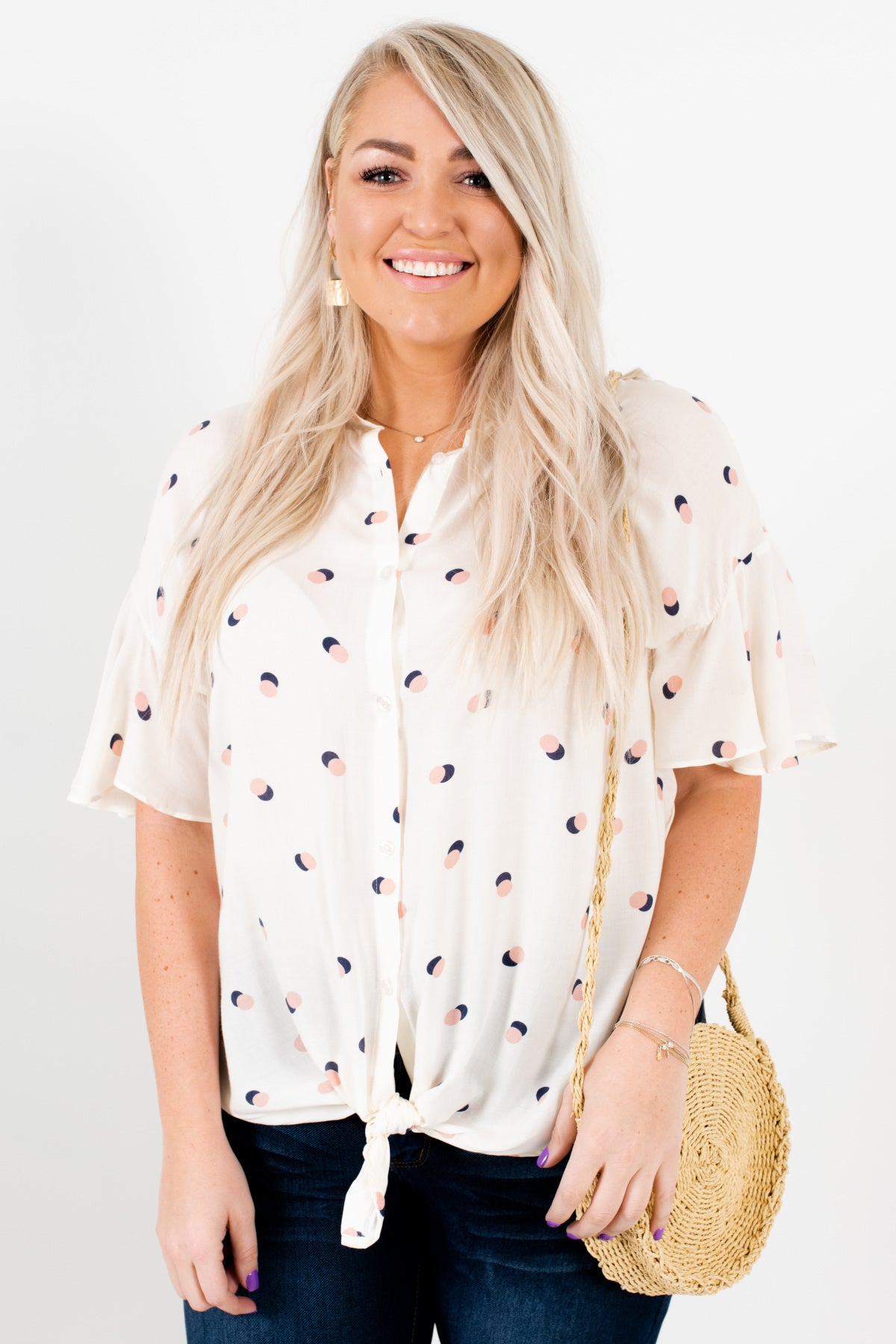 White Pink Navy Polka Dot Print Plus Size Tie Front Button Up Shrits