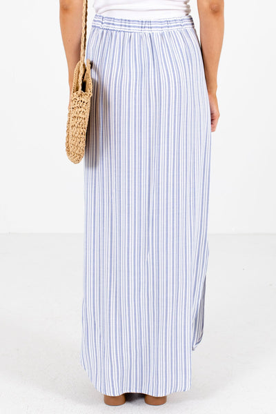 Women's Blue Decorative Button Boutique Maxi Skirt