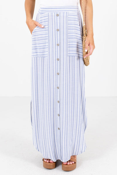 Blue and White Striped Boutique Maxi Skirts for Women
