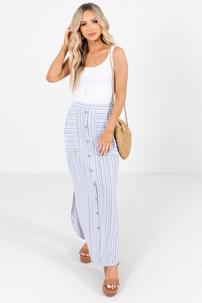 Blue Cute and Comfortable Boutique Maxi Skirts for Women