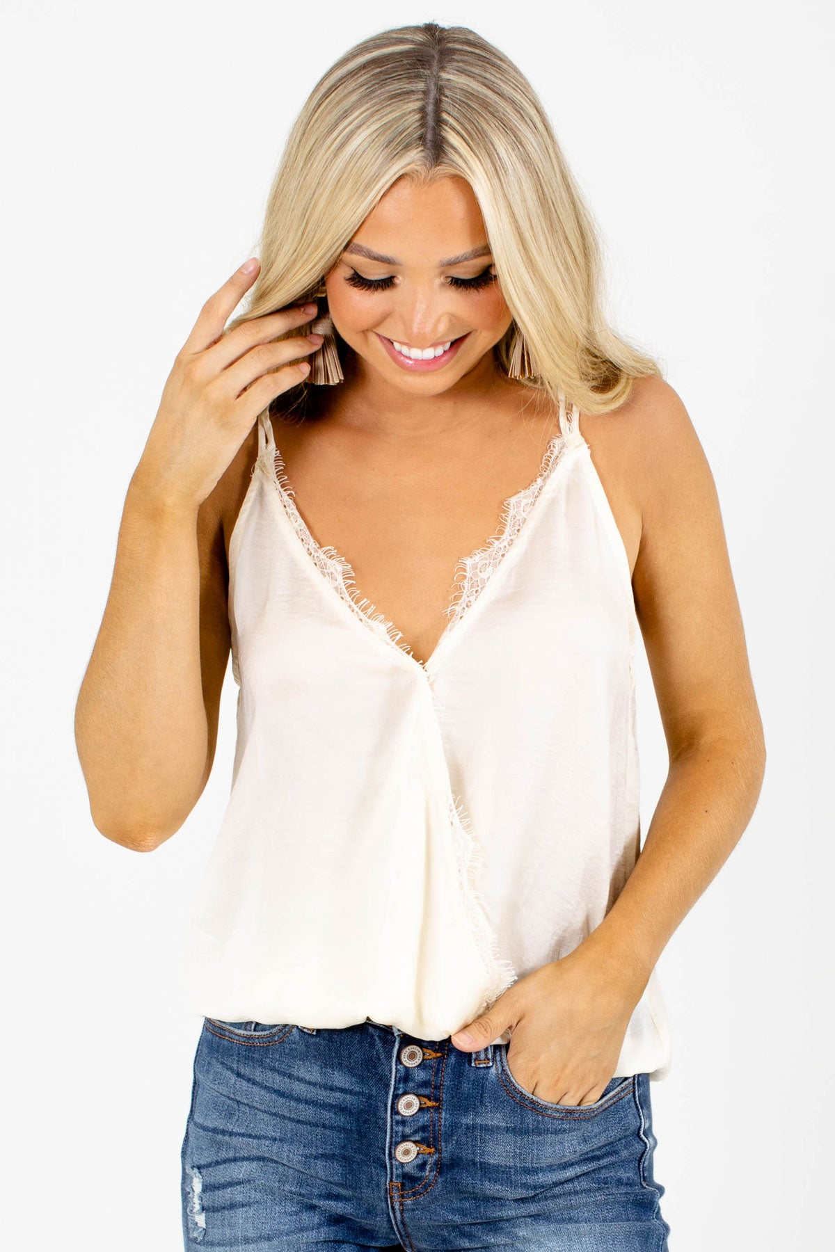 Cream Faux Wrap Style Boutique Tank Tops for Women