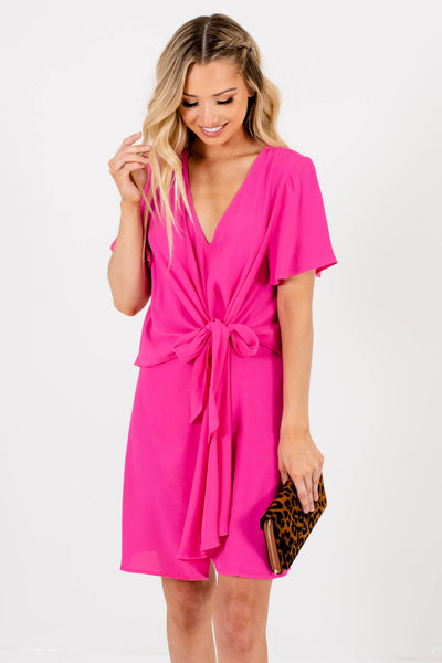 Fuchsia Pink Self-Tie Front Detailed Boutique Mini Dresses for Women