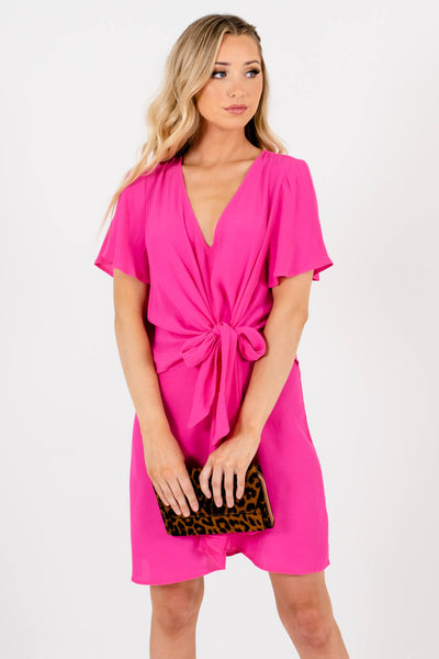 Women's Fuchsia Pink Textured Material Boutique Mini Dresses