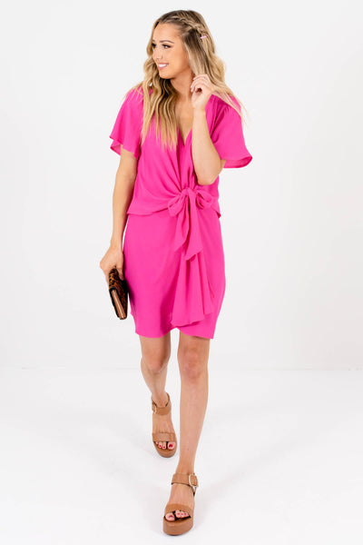 Fuchsia Pink Cute and Comfortable Boutique Mini Dresses for Women