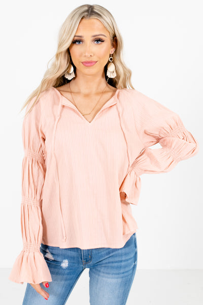Pink Unique Smocked Sleeve Boutique Blouses for Women