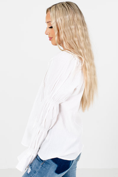 Women's White Smocked Sleeve Boutique Blouse