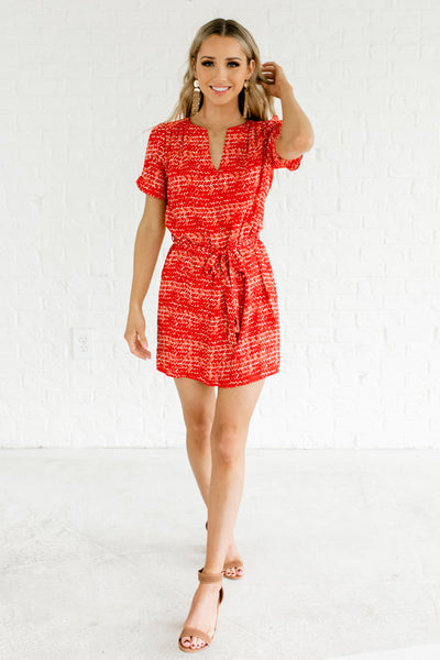 Red Abstract Paint Brushstroke Patterned V Neck Mini Dresses
