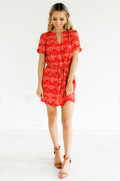 White Red Patterned Tie Front V Neck Mini Dresses