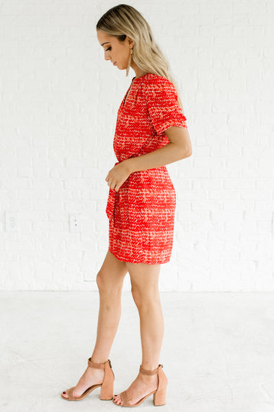 Red Patterned Mini Dresses Affordable Online Boutique