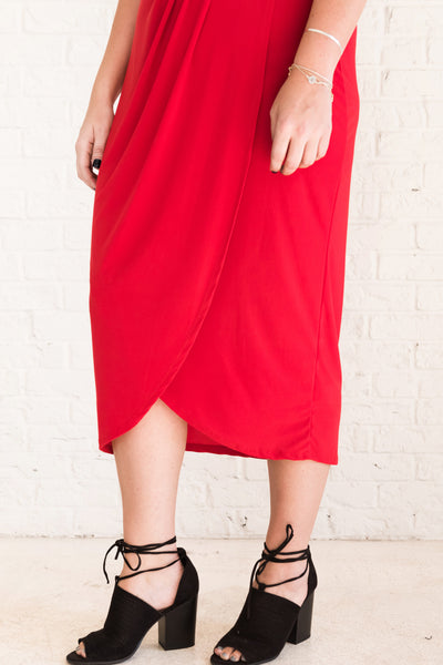 Red Plus Size Faux Wrap Style Dresses for Women