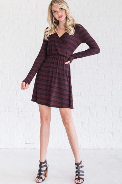 Burgundy and Black Striped Faux Wrap Long Sleeve Mini Dresses