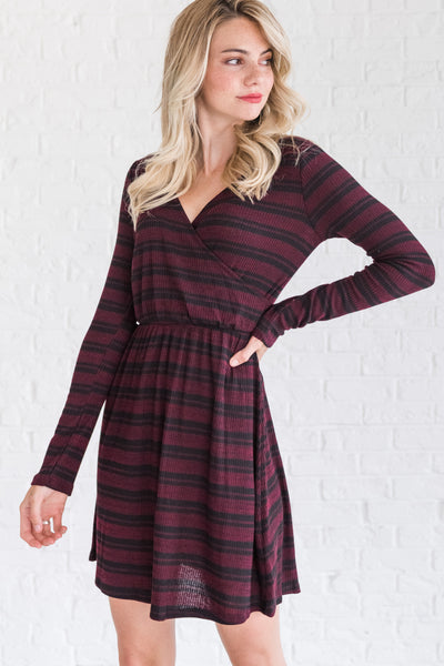 Burgundy Cute Mini Dresses for Women's Winter Fashion Boutique