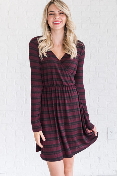 Burgundy Striped Faux Wrap Dresses for Women Winter