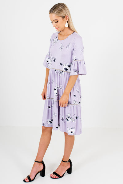 Lavender Purple Black White Floral Print Knee Length Dresses
