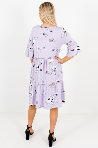 Lavender Purple Floral Print Knee Length Dresses Boutique