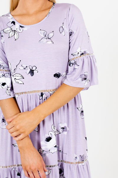 Lavender Purple Floral Print Ladder Lace Boho Boutique Dresses